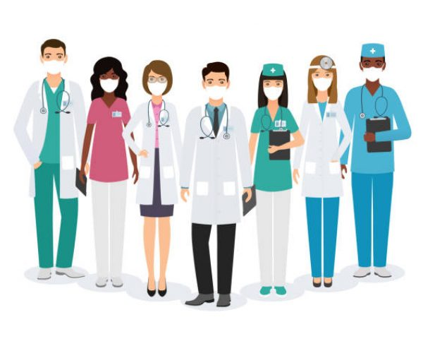 Group of medical people characters in medical masks standing together in different poses on white background. Set doctors and nurses in uniform. Medic clinic advertising banner. Vector illustration